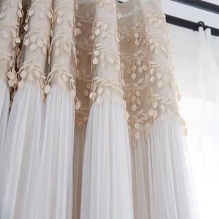 即日発送可能 大人気フリルレース付き遮光カーテン2枚入り100×178cm(カーテン)
