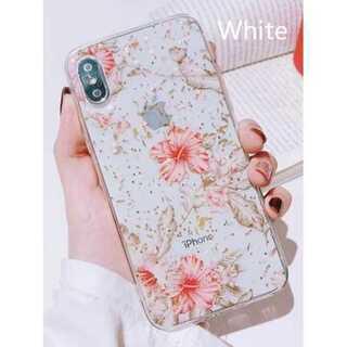 花柄 iPhone ケース 透明 クリア ホワイト XR