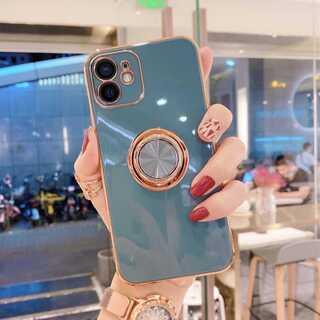 ブルーグレー iPhone12promaxケース スマホカバー リング付き 人気