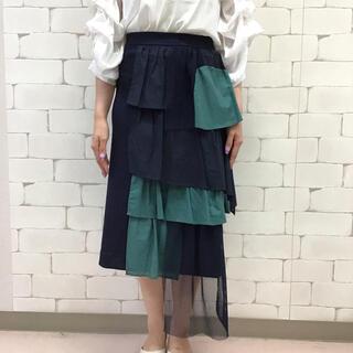 ランダムフリルメッシュ配色スカート 3560 ネイビーM〜L
