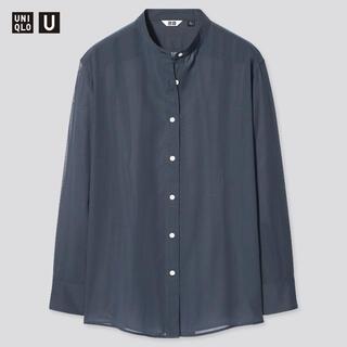 UNIQLO - UNIQLO シアーバンドカラーシャツ(長袖) ネイビー Mサイズ