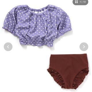 ブリーズ(BREEZE)のキッズ 女の子 水着 セパレート ドット 紫 (水着)