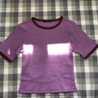 カスタネ(Kastane)のkastane 細リブリンガーボーダーTシャツ(Tシャツ(半袖/袖なし))