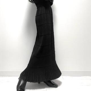 pleats tight long-skirt black