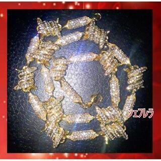 鉄線からゴールドチェーンに ⚪ハイクラス 有刺鉄線ネックレス czダイヤモンド