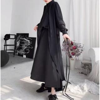モード系シャツ ロングシャツ ユニセックス フリーサイズ レイヤード フレア 黒