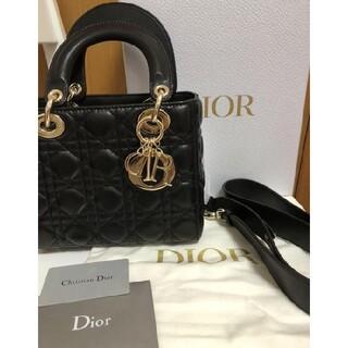Christian Dior - Dior レディディオール ハンドバッグ ショルダーバッグ 黒 ラムスキン