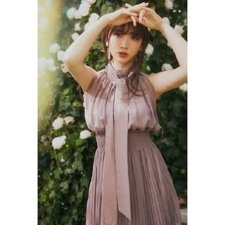 Herlipto Pleated Chiffon Ribbon Dress