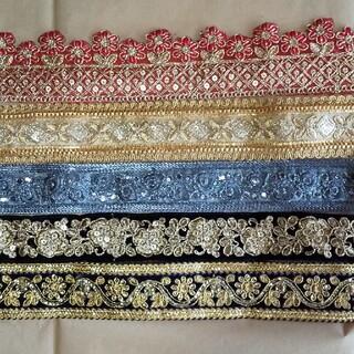 インドの刺繍リボン5種類×20cmセット⑤