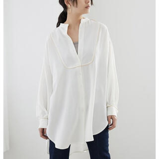 Adam et Rope' - 【新品タグ付き】サテンパイピングデザインブザムシャツ【ホワイト】