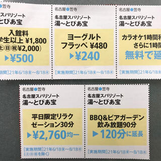 名古屋スパリゾート 湯ーとぴあ宝 割引券(その他)