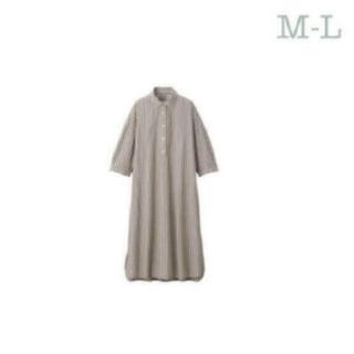 MUJI (無印良品) - 無印良品ワッシャーポプリン七分袖ワンピース/M~L/モカブラウンストライプ