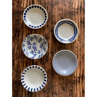 小皿5枚 青×白 10cm 日本製 和食器 醤油皿 美濃焼 オシャレ