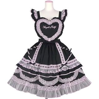 Angelic Pretty - ♡Angelic Pretty♡Heart胸あて付スカート(無地)♡〈クロ〉
