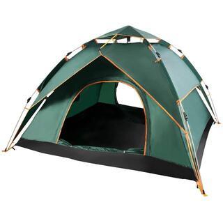 テント ワンタッチテント 二重層 3~4人用 収納バッグ付(グリーン)