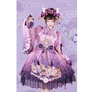 紫藤の猫~春空幻夢 和ロリ 華ロリ 刺繍 振袖 ロリータ(衣装一式)