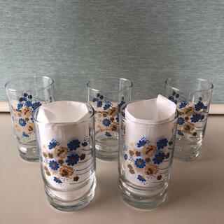 【未使用】昭和レトロ☆花柄 ガラスコップ 5個☆レトロポップ☆