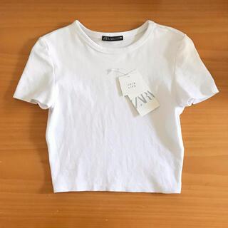 ZARA - ZARA ザラ M クロップド丈Tシャツ ホワイト 白 Tシャツ トップス