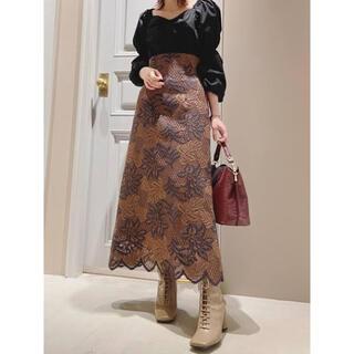 リリーブラウン(Lily Brown)のリリーブラウン Lilly brown バイカラーフラワーレーススカート(ロングスカート)