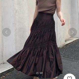 フレイアイディー(FRAY I.D)のフレイアイディー シャーリングタフタスカート ブラウン 美品(ロングスカート)