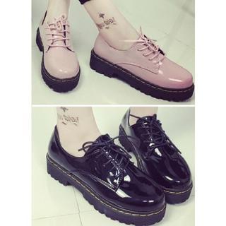 新品×厚底×レースアップローファー×22.5~24.5(ローファー/革靴)