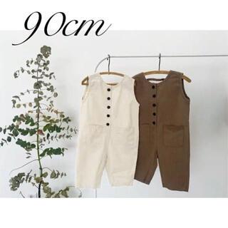 綿100%オールインワン ブラウン90cm  夏服 韓国子供服