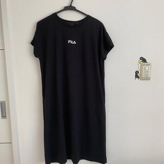 FILA - フィラ フィラワンピース 黒ワンピース ロングTシャツ ワンピース 半袖ワンピー
