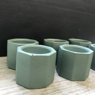 オシャレセメント鉢 6点セット ブロンズグリーン(プランター)