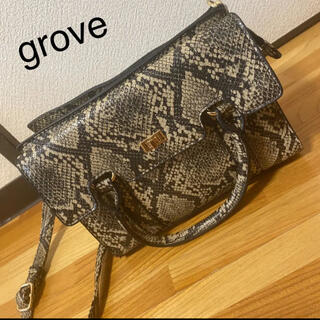 グローブ(grove)のgrove グローブ バッグ ショルダーバッグ パイソン 蛇柄 レディース(ショルダーバッグ)
