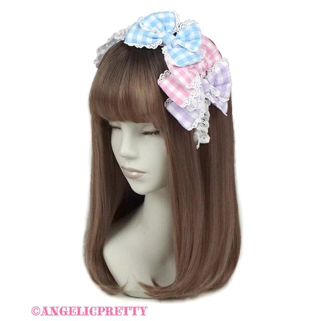 Angelic Pretty(アンジェリックプリティー)のAngelic Pretty ギンガム配色ぷくぷくリボンカチューシャ  レディースのヘアアクセサリー(カチューシャ)の商品写真