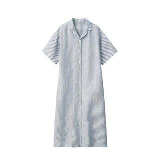 ムジルシリョウヒン(MUJI (無印良品))の無印  フレンチリネン洗いざらし五分袖開襟ワンピース ネイビーストライプ ML(その他)