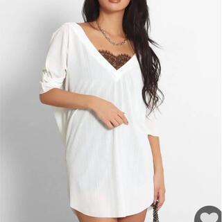 ANAP Latina - ANAP ゆるてろリブtシャツ 深V Vネック チュニック ロング 五分袖 白