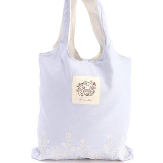 サマンサモスモス(SM2)のサマンサモスモス 35th花刺繍ポケッタブルトート エコバッグ サックス(トートバッグ)