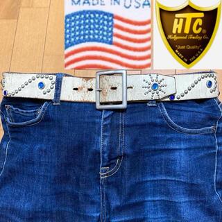 ハリウッドトレーディングカンパニー(HTC)の希少!USA製!HTC フラワースタッズ・ブルーストーン レザーベルト (ベルト)