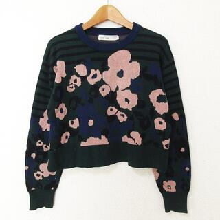 sacai luck - sacai luck 14SS ニット セーター 長袖 ショート丈 花柄 2