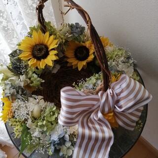 紫陽花好きさんにはたまらない!かごアレンジメントとスワッグセットラクマパック(ドライフラワー)