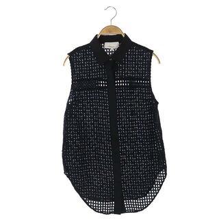 スリーワンフィリップリム(3.1 Phillip Lim)の3.1 フィリップリム ノースリーブシャツ 前開き 2 黒 ブラック /CM(シャツ/ブラウス(半袖/袖なし))