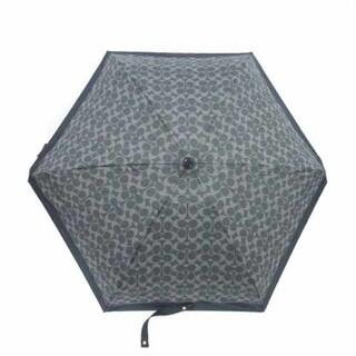 コーチ(COACH)のコーチ COACH 折り畳み傘 雨傘 シグネチャー 紺 ネイビー グレー (傘)