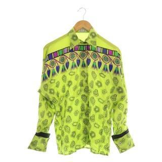 ジャンニヴェルサーチ(Gianni Versace)のジャンニヴェルサーチ ヴェルサーチェ シャツ シルク 総柄 ヴィンテージ 黄緑(シャツ/ブラウス(長袖/七分))