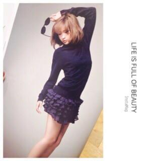 スナイデル(snidel)の紗栄子ちゃん着用 フリルスカート&ニットコンビワンピ(ミニワンピース)