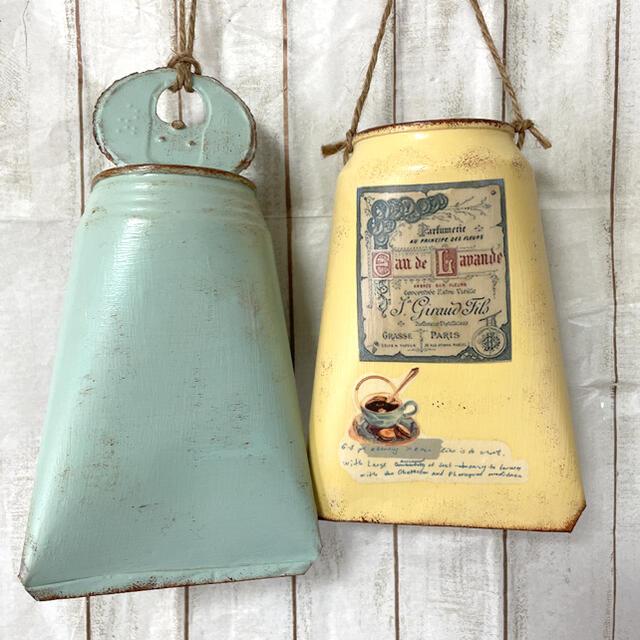 リメ缶、リメイク缶500mlバック型2個セット おまけ苗付き ハンドメイドのフラワー/ガーデン(プランター)の商品写真