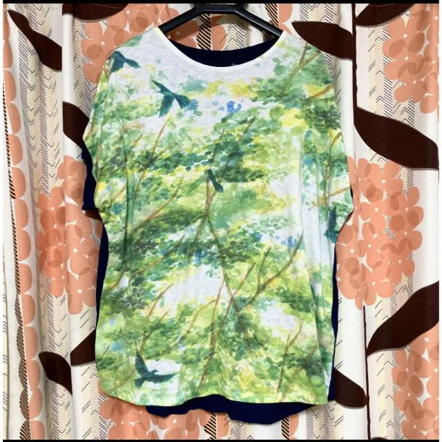 Graniph(グラニフ)のグラニフ  レディース  半袖 Tシャツ カットソー トリ バックボタン  夏 レディースのトップス(Tシャツ(半袖/袖なし))の商品写真