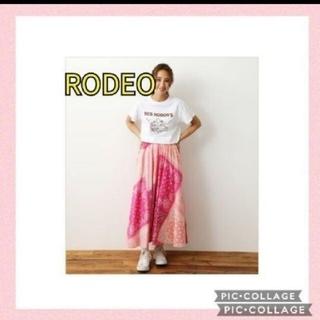 ロデオクラウンズワイドボウル(RODEO CROWNS WIDE BOWL)のラスト!RODEO ロデオ バンダナパッチワークスカートマキシロングピンク 新品(ロングスカート)