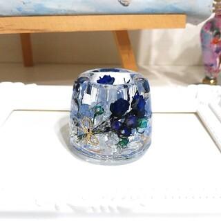 NO.321 青紫系ミニ薔薇ブーケin♡固まるハーバリウムペン立て・印鑑立て(ドライフラワー)