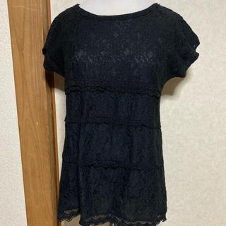 プーラフリーム(pour la frime)の【丈長め♪】黒 レース Tシャツ(Tシャツ(半袖/袖なし))