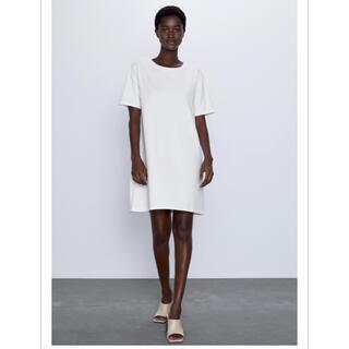 ザラ(ZARA)の新品/Zara Textured weave dress 白Tワンピ(ミニワンピース)