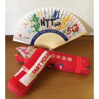 トヨタ(トヨタ)のオリンピック 東京2020 タオル 扇子 折りたたみクッション(タオル/バス用品)