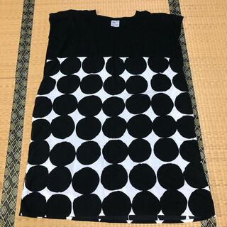 ソウソウ(SOU・SOU)のsou・sou 高島紬 長方形衣 組 濡羽色×おはじき大(ひざ丈ワンピース)