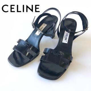 セリーヌ(celine)のCELINEセリーヌ サンダルヒール5cm ストラップ ブラック黒色 レディース(サンダル)