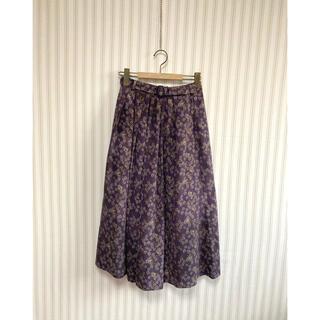 古着 ヴィンテージ   レトロ 総柄スカート ベルト付 ビンテージ(ロングスカート)
